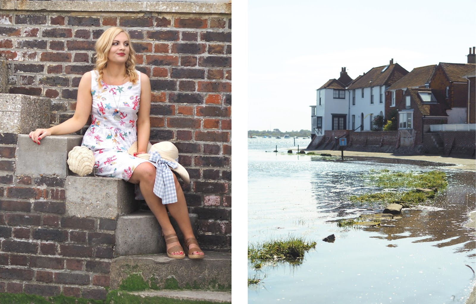 Seaside Prints Outfit, Summer Lookbook, Katie Kirk Loves, UK Blogger, Fashion Blogger, Style Blogger, Outfit of the Day, Aspire Style, Cath Kidston, Lobster & Shells, Cath Kidston Lobster & Shell Print Dress, Moshulu Shoes, Summer Style, Bosham Harbour, West Sussex