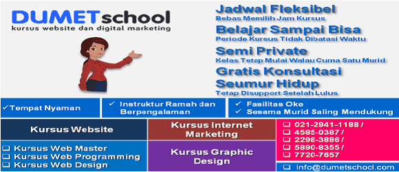 Kursus Website, Internet Marketing, Desain Grafis DUMET School