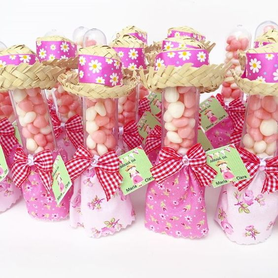 30 Tubetes decorados para festa junina