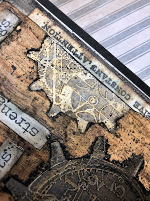 Sara Emily Barker https://sarascloset1.blogspot.com/2019/01/repairs-receive-constant-attention.html Tim Holtz Sizzix Alterations Gadget Gears Stampers Anonymous Inventor 1 Dapper Birch & Pine 4