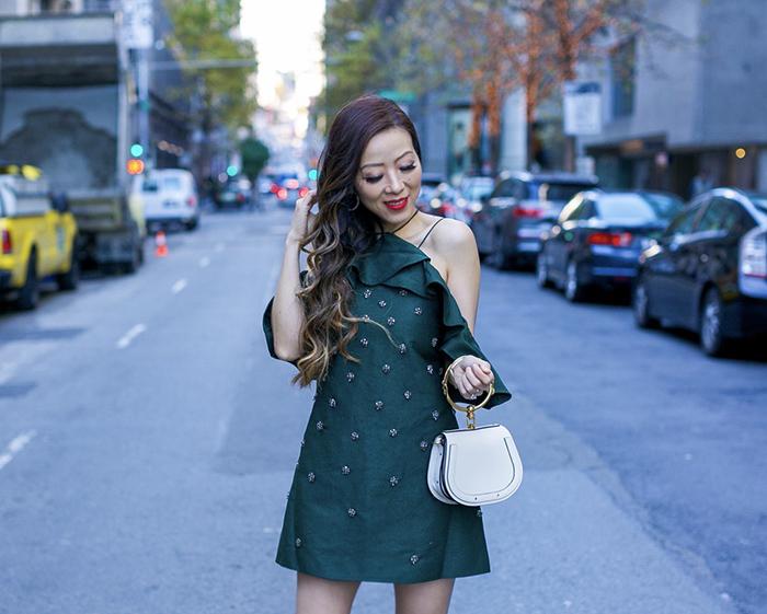embellished holiday party dress, CMEO embellished dress, sam edelman pumps, chloe nile bag, kendra scott hoops earrings, holiday party dress