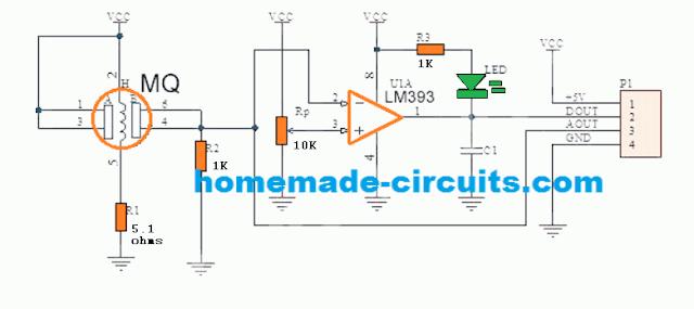 MQ-3 sensor module digital PCB circuit schematic