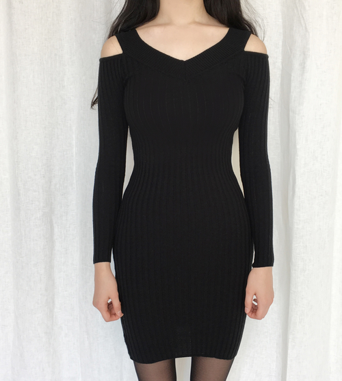Cold-Shoulder Bodycon Knit Dress