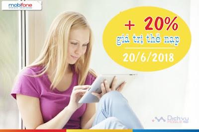 Khuyến mãi nạp thẻ Mobifone ngày vàng 20/6/2018