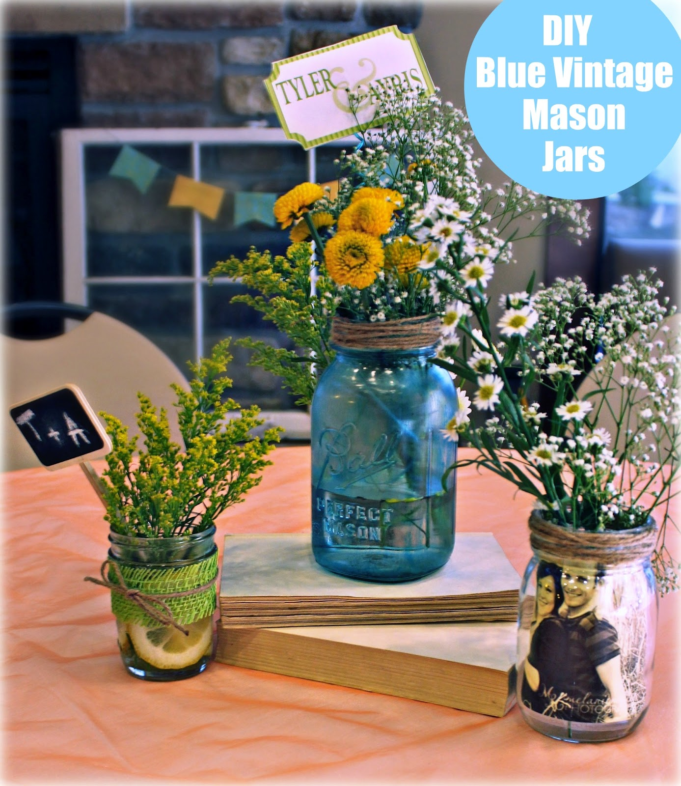 "Vintage Wedding Ideas Mason Jars: Bridgey Widgey: DIY ""Vintage"" Blue Mason Jars"