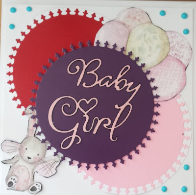"New baby girl 6"" square card (with rabbit and balloons)"