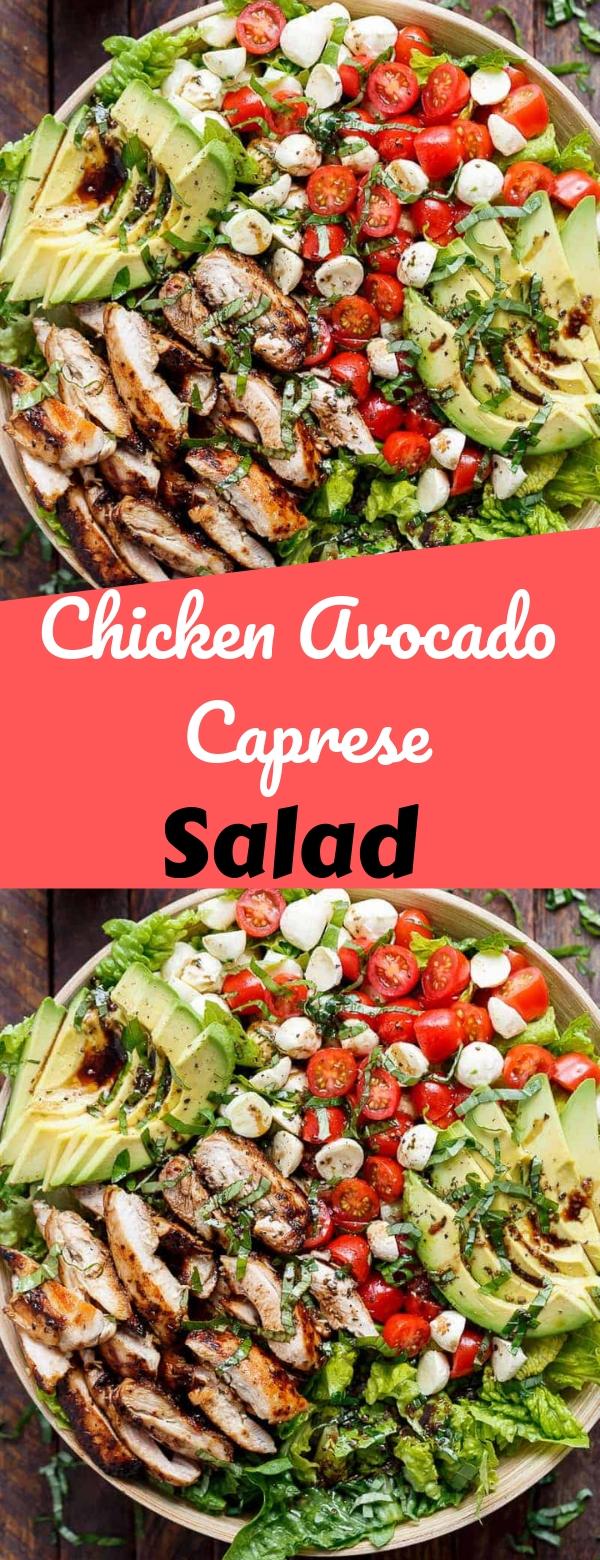 Chicken Avocado Caprese Salad #chicken #salad