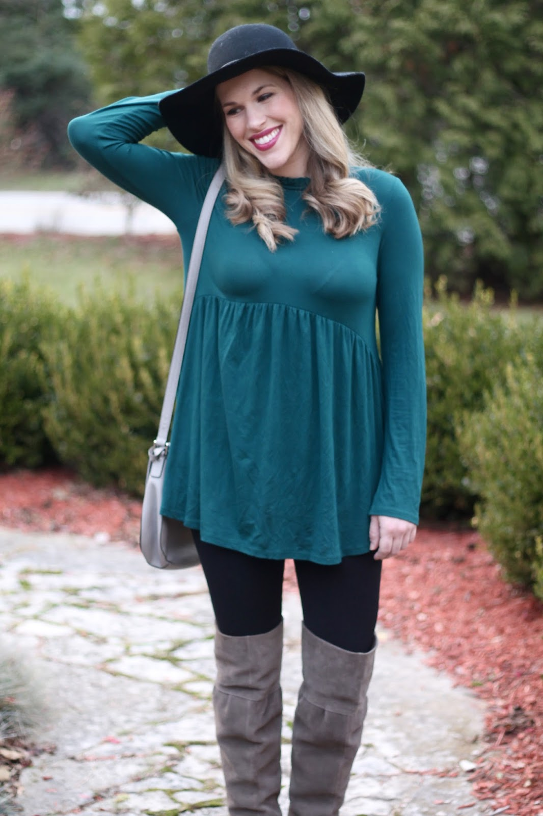 PinkBlush teal tunic, black leggings, grey OTK boots, grey saddlebag, fall outfit with leggings