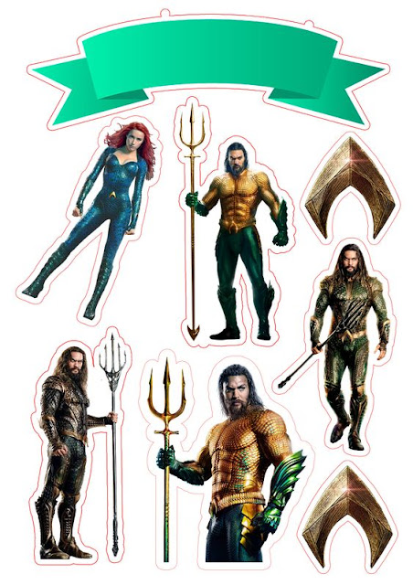 Aquaman Free Printable Cake Toppers.