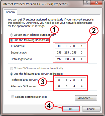 how to change the ip address in pc