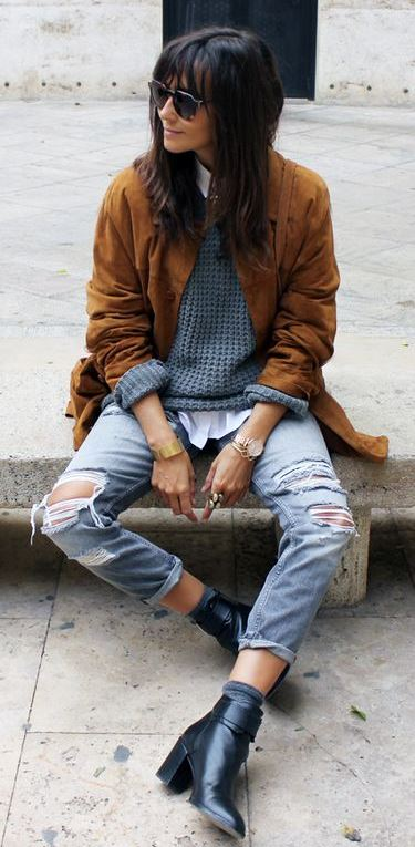 street style perfection | brown jacket + knit sweater + shirt + ripped jeans + boots