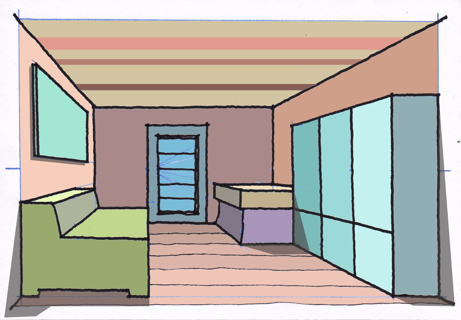 Sketch Amp Draw A Room One Point Perspective
