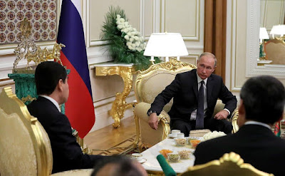 Vladimir Putin at a meeting with President of Turkmenistan Gurbanguly Berdimuhamedov.