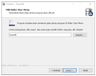 Folder Start Menu aplikasi dapodik versi 2019