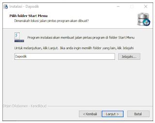 Folder Start Menu aplikasi dapodik versi 2019
