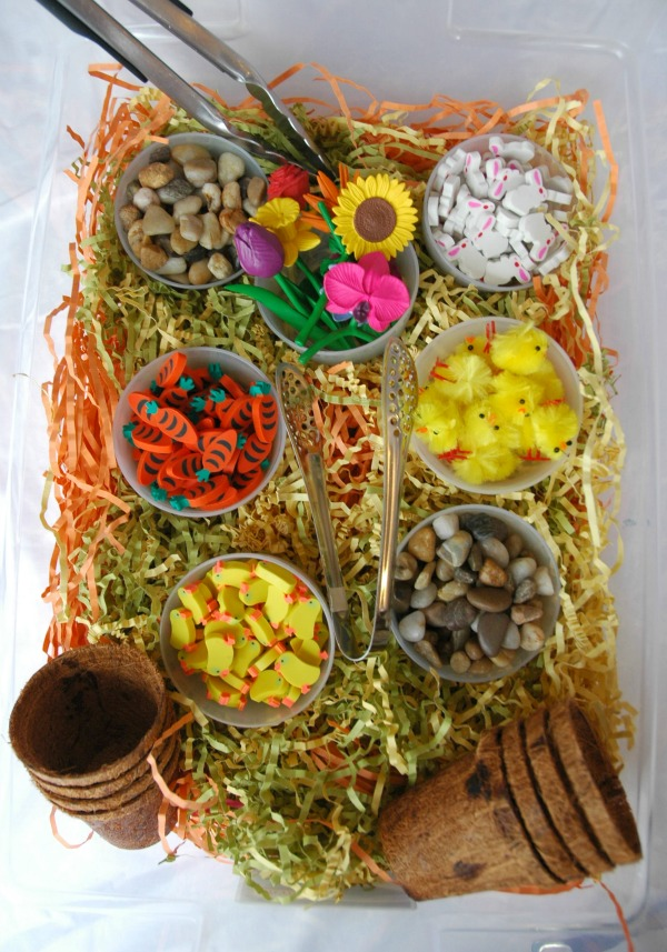 Spring Sensory Bin What Can We Do With Paper And Glue