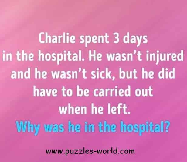 Charlie spent 3 days in the hospital.