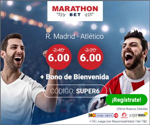 Marathonbet supercuota 6 Real Madrid vs Atletico 15 agosto
