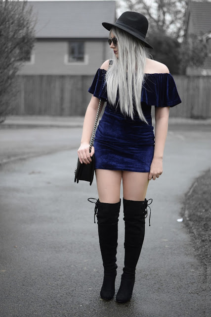 Sammi Jackson - Aliexpress Blue Velvet Dress / Topshop Biker Jacket / Boohoo Over Knee Boots