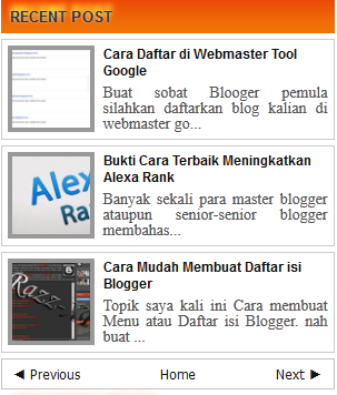 Recent Post Terbaru buat blogger-Giga Watt