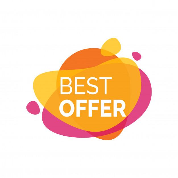 Best Offer Inscription on Paint Blot Free Vector