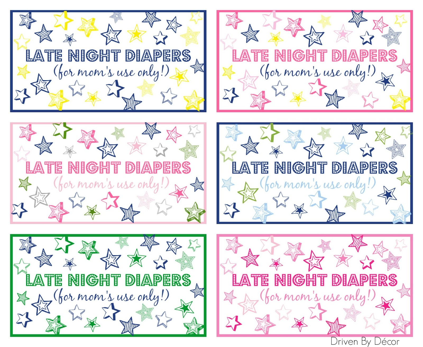 photograph relating to Late Night Diapers Printable named Late Evening Diapers Child Shower Printables Run by way of Decor