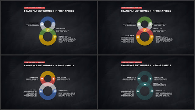 Infographic Transparent Design Elements for PowerPoint Templates in Dark background using Number 8
