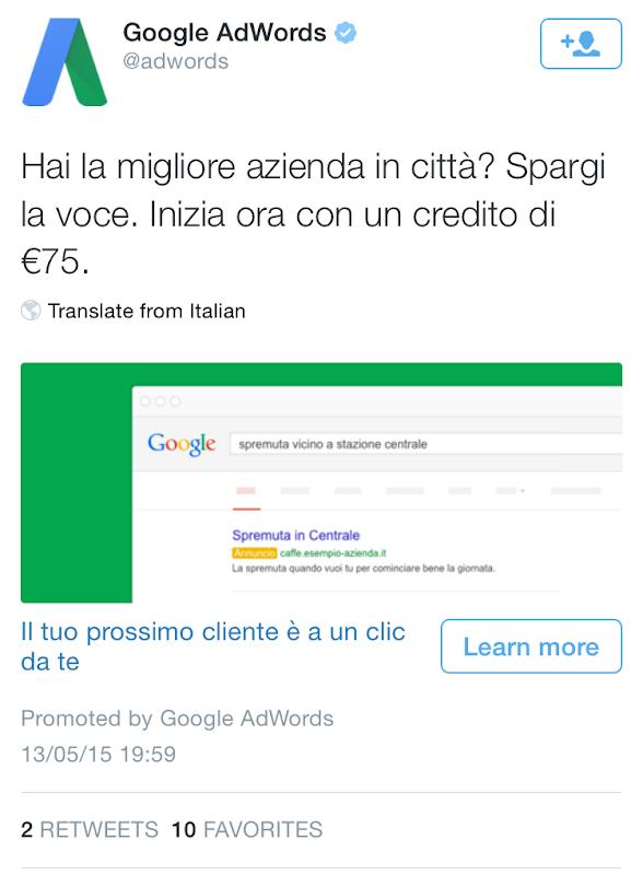 Google fa pubblicità su Twitter?