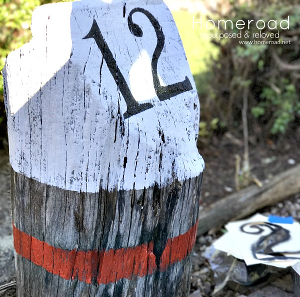 Nautical buoy makeover for a driftwood stump
