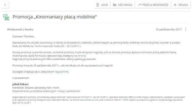 Zaproszenie do promocji Kinomaniacy płacą mobilnie BZ WBK