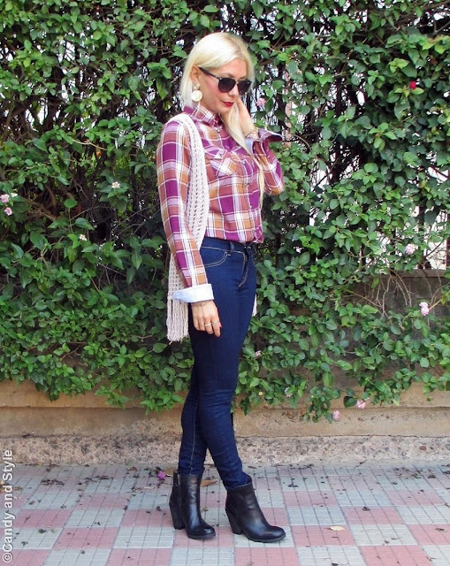 CheckedShirt+CrochetVest+SkinnyJeans+AnkleBoots+BurgundyLips+ClipInHairExtensions - Lilli Candy and Style Fashion Blog
