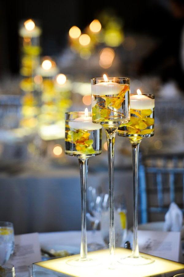 5 centros de mesa para bodas con copas de vidrio - Centros de mesa cristal ...