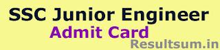 SSC Junior Engineer Admit card 2015