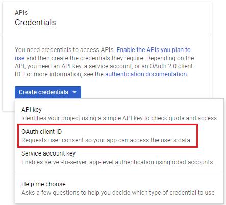 google developer console create oauth client