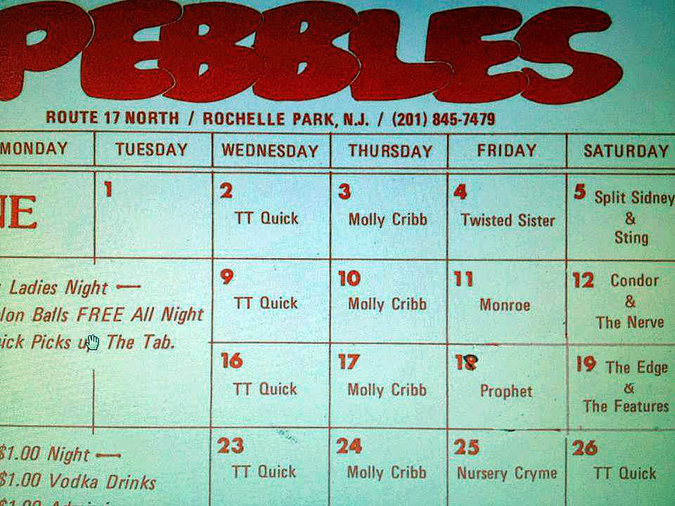 Pebbles rock club band line up 1982