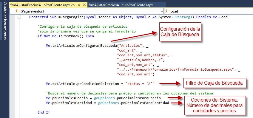 Código Complemento: Configuración 1 - Archivo VB - Programación de Complementos para eFactory ERP/CRM, Contabilidad y Nómina