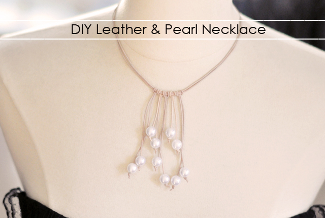 DIY gifts, leather and pearl necklace