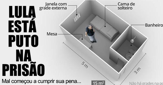 Lula está puto na prisão. Petista não foi tomar banho de sol e já reclama da quentinha