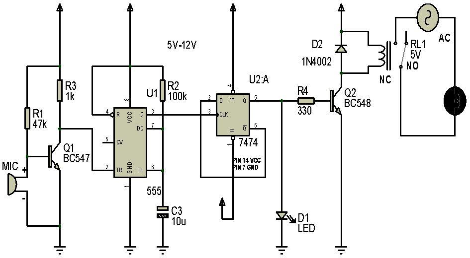 rangkaian lampu tepuk menggunakan ic 7474