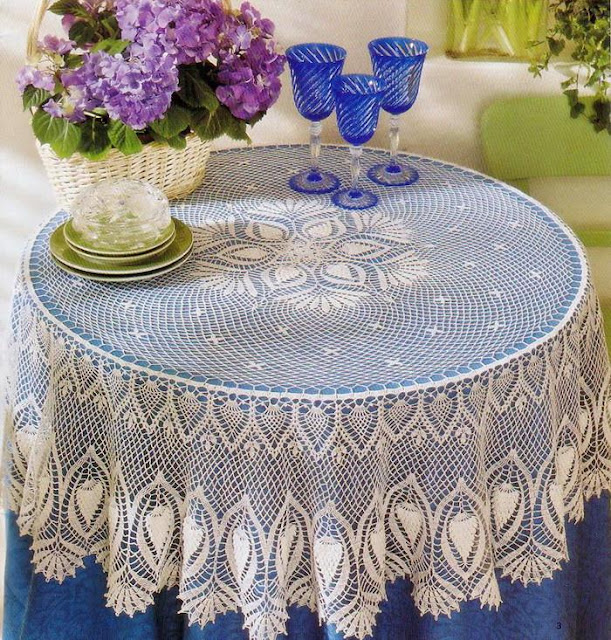 Crochet Tablecloth Pattern- Crochet Lace Tablecloth pineapple Round
