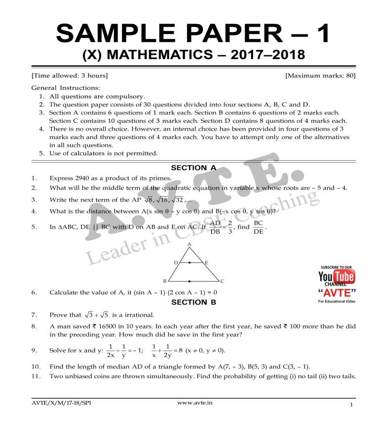 Maths4all: Class X Mathematics SAMPLE PAPER 1 2017– 18