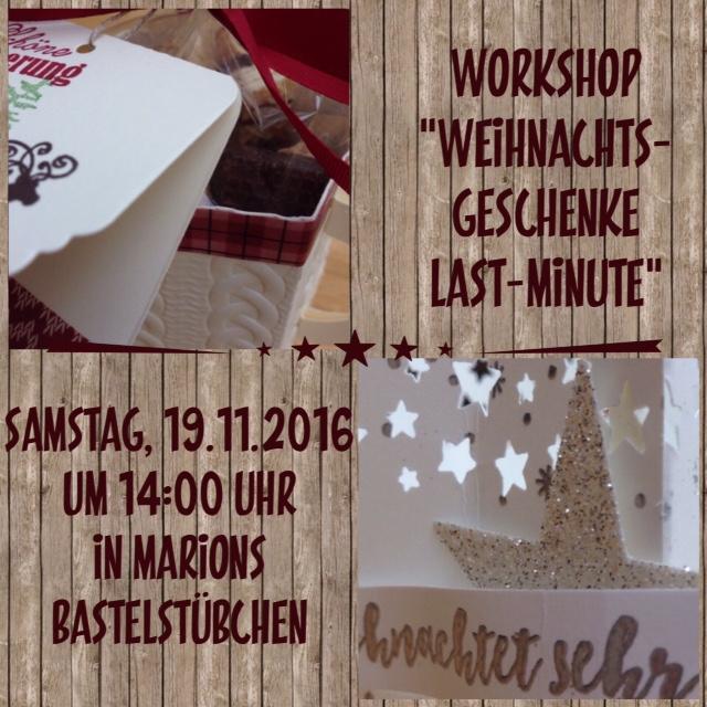 marions bastelst bchen ank ndigung workshop weihnachtsgeschenke last minute. Black Bedroom Furniture Sets. Home Design Ideas