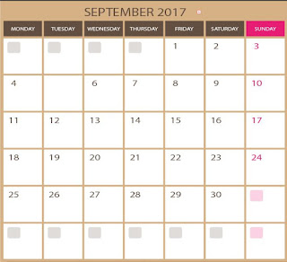 vector for free - blank kalendar for September 2017 - printable and editable  photoshop and illustrator (vectors in eps and ai format). images in HQ. Downloads for free