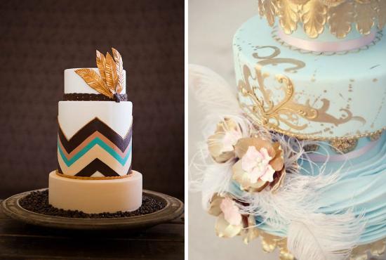 feathers wedding, roaring 20s wedding, feather wedding cake
