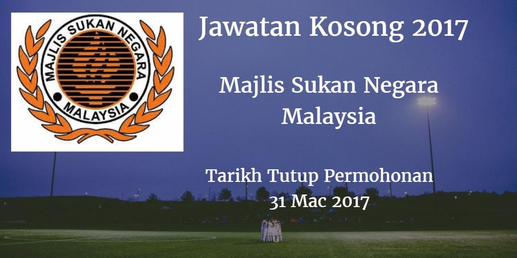 Jawatan Kosong Majlis Sukan Negara Malaysia 31 Mac 2017