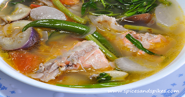 Sinigang Na Ulo Ng Salmon (Salmon Fish Head In Sour Soup) Recipe