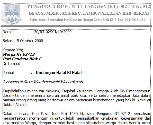 Contoh Surat Undangan Halal Bihalal Keluarga Besar