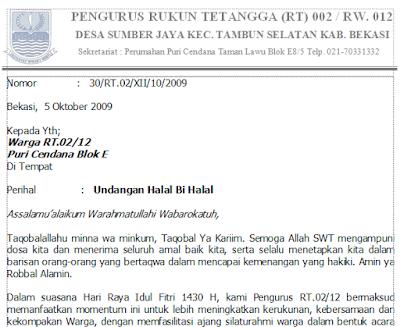 Contoh Surat Undangan Halal Bi Halal Idul Fitri RT/ RW