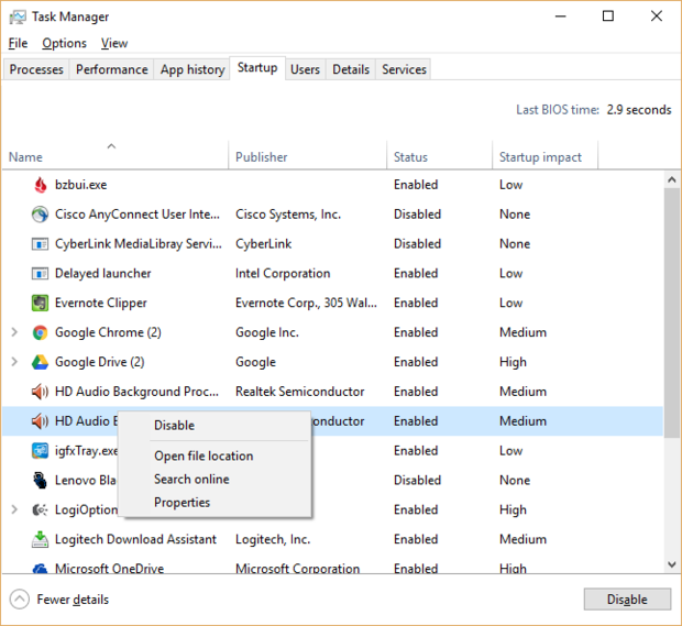 disable startup program di windows 10