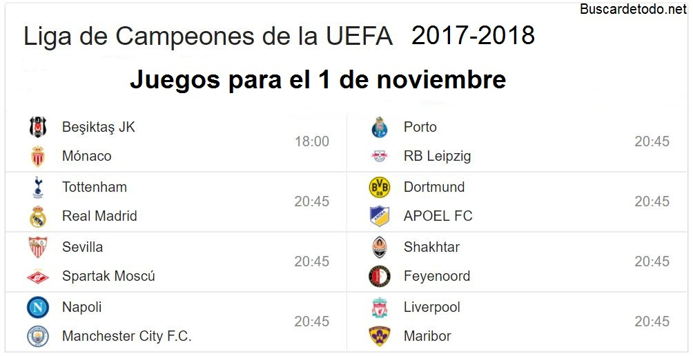8- Calendario de juegos de la Champions League 2017-2018. Juegos de la Champions League el 1 de noviembre 2017